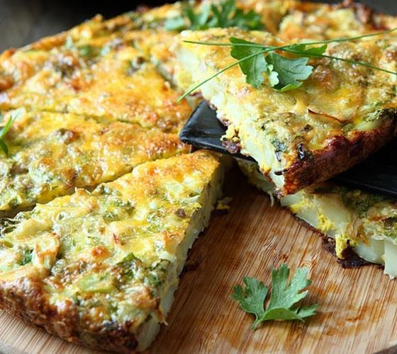 Омлет со шпинатом на сковороде рецепт
